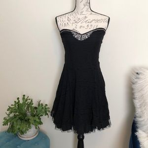 Free People black strapless dress with beading